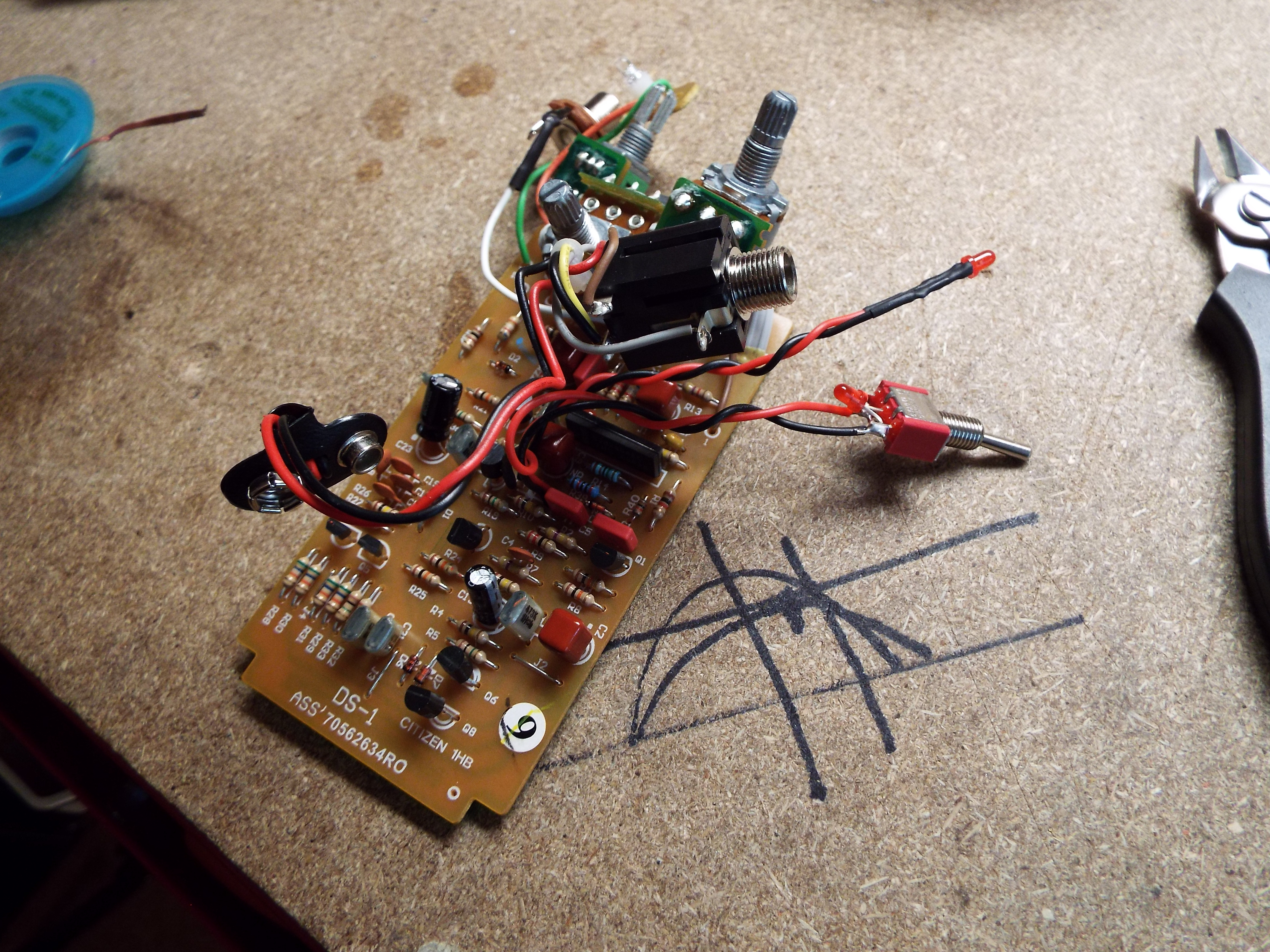 Fixing And Then Modding A Boss Ds 1 Helping You Find Your Tone 4 Jack Wiring To Circuit Board Switch Additional Diode Have Been Added